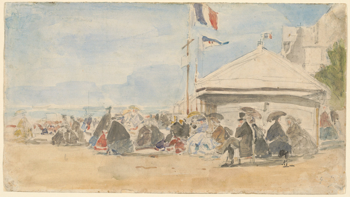 Eugène Boudin, Beach House with Flags at Trouville, c. 1865