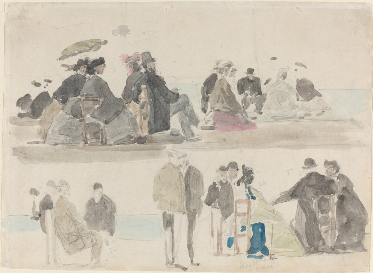 Eugène Boudin, Ladies and Gentlemen on the Beach, in Two Registers, c. 1865