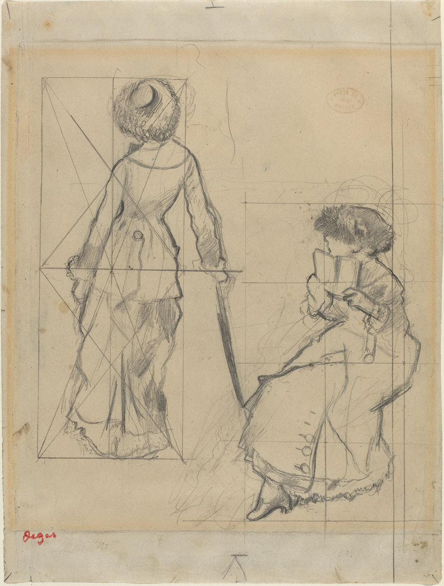 Edgar Degas, Study for (Mary Cassatt at the Louvre: The Etruscan Gallery) [Recto], c. 1879