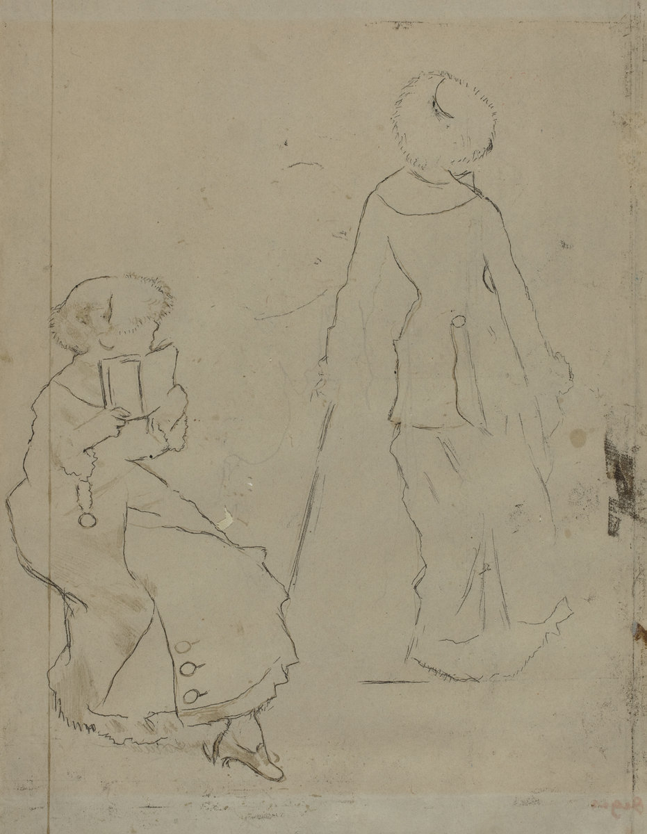 Edgar Degas, Study for (Mary Cassatt at the Louvre: The Etruscan Gallery) [Verso], c. 1879