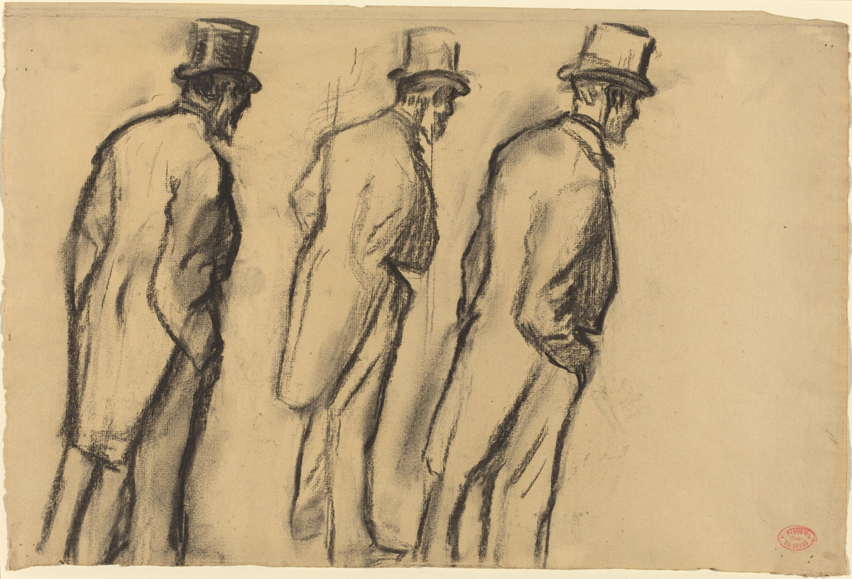 Edgar Degas, Three Studies of Ludovic Halevy Standing, c. 1880