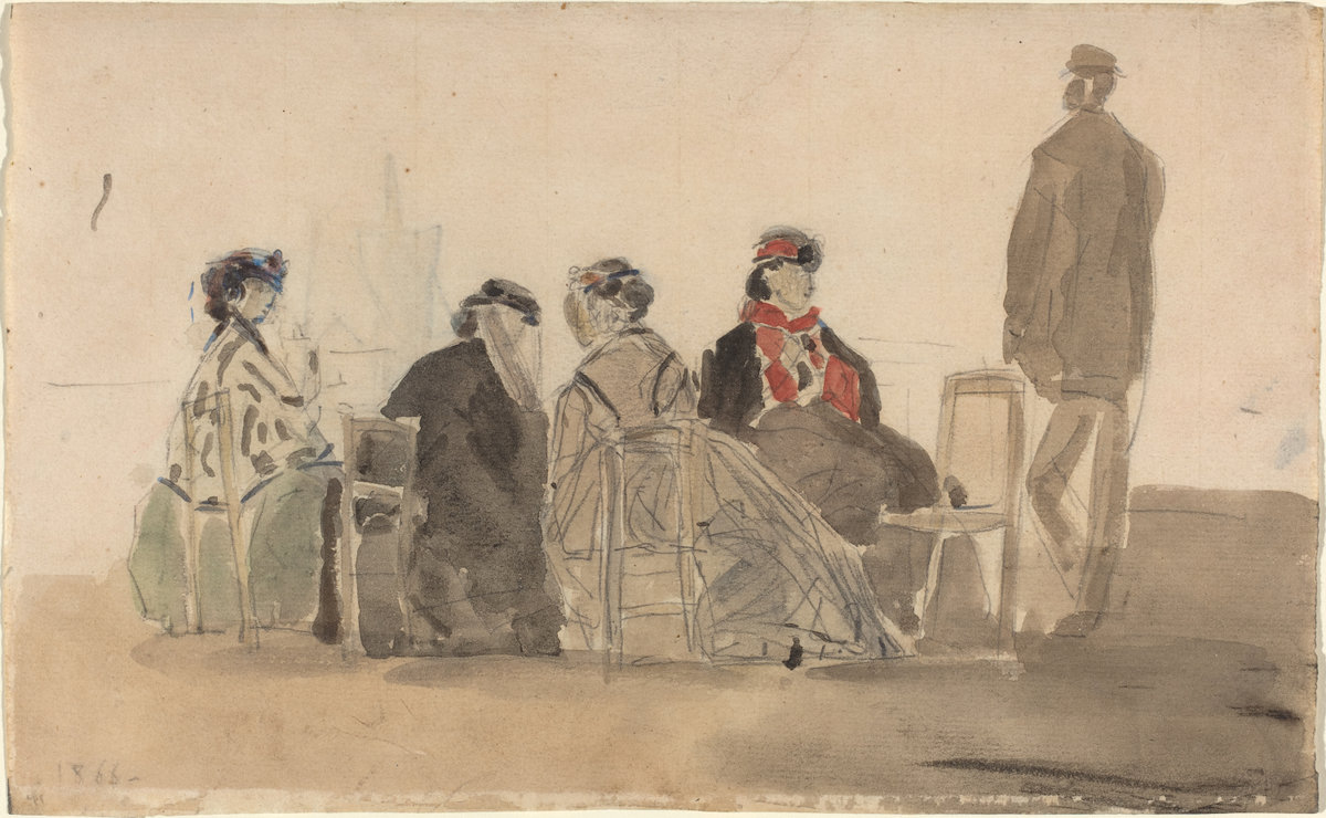 Eugène Boudin, Four Ladies Seated at Trouville, 1866