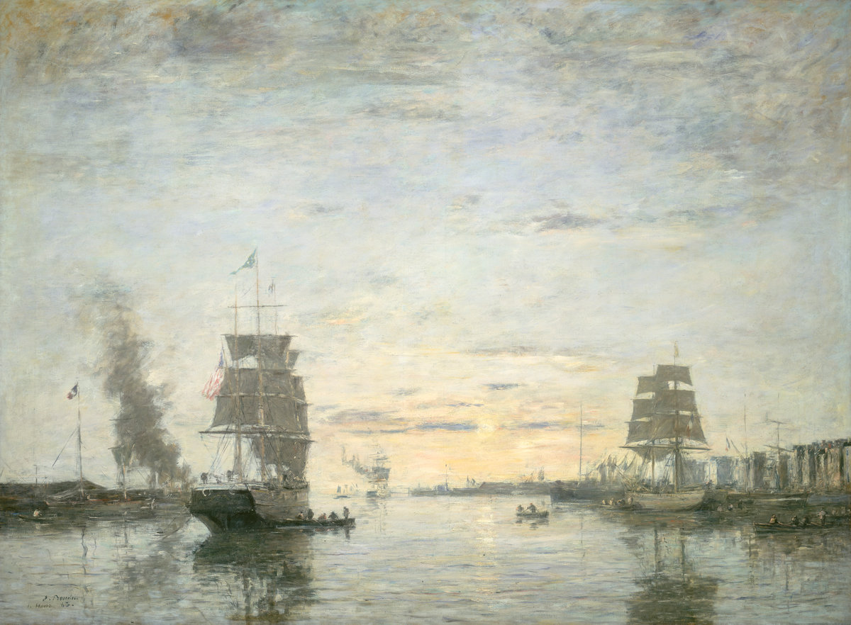 Eugène Boudin,Entrance to the Harbor, Le Havre, 1883