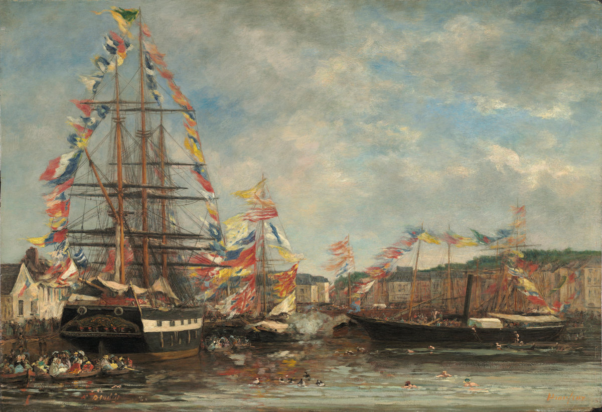 Eugène Boudin, Festival in the Harbor of Honfleur, 1858