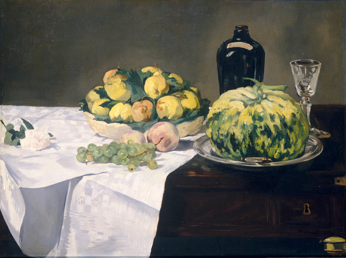 Èdouard Manet, Still Life with Melon and Peaches, c. 1866