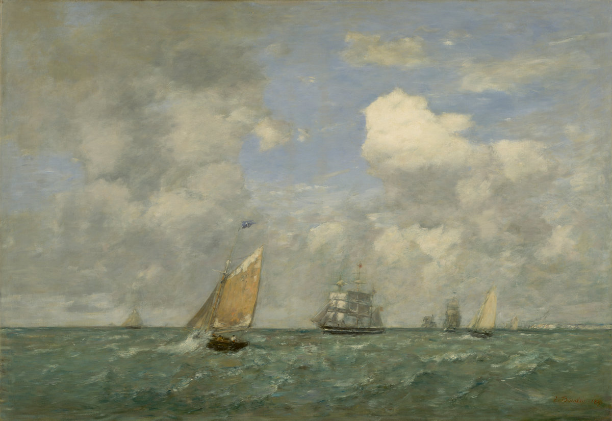 Eugène Boudin, Ships and Sailing Boats Leaving Le Havre, 1887