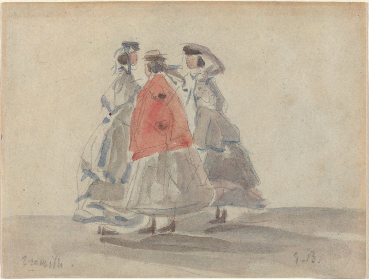 Eugène Boudin, Three Women at Trouville, c. 1865