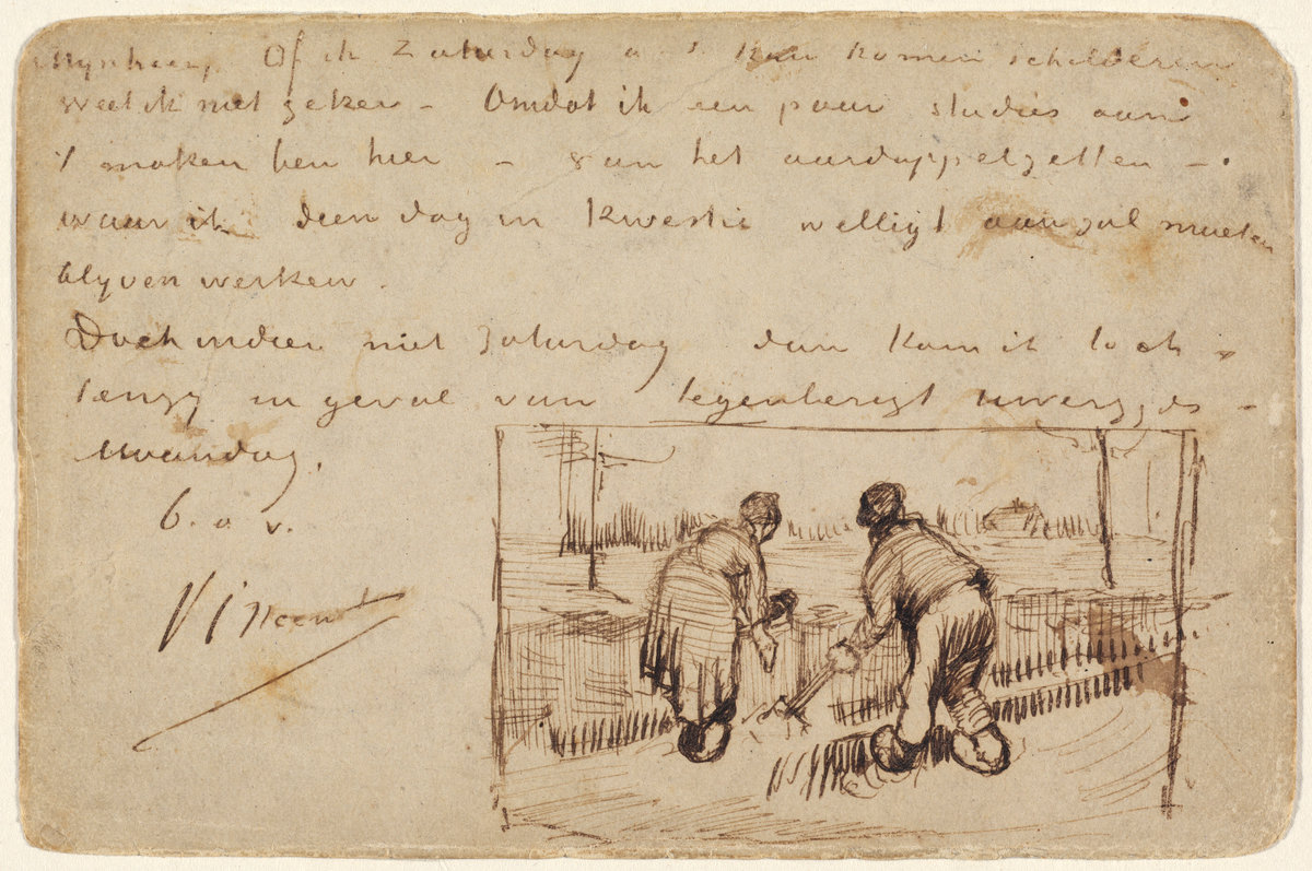 Vincent Van Gogh, Postcard with Two Peasants Digging, 1885