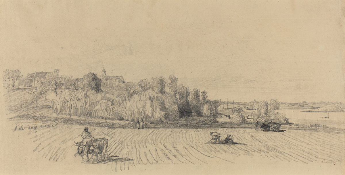 Eugène Boudin, L'Ile aux Moines with Workers in a Field, c. 1858